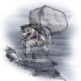Illustrasjon til et gammelt sagn om hva som skjer når man flytter gamle grensesteiner